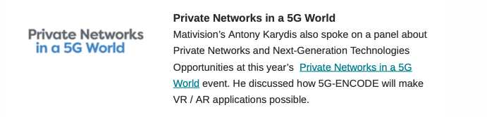 5g encode at private networks event