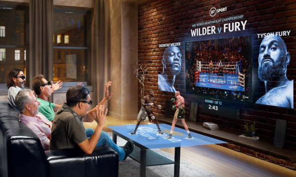 5G Edge XR allows fans to view heavyweight boxing title fights via a virtual hologram on a coffee table